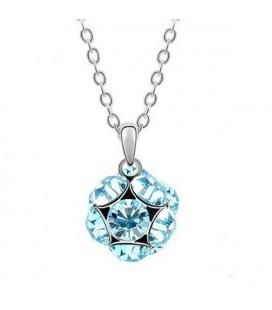 ékszer webshop Kék kristályos shamballa stílusú nyaklánc