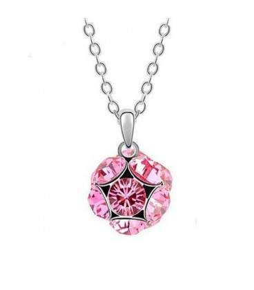 ékszer webshop Rózsaszín kristályos shamballa stílusú nyaklánc