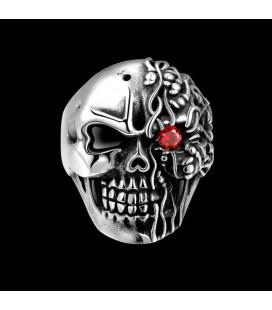 ékszer webshop Nemesacél koponya gyűrű - piros kővel