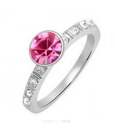 ékszer webshop Kerek kristályos gyűrű - rózsaszín