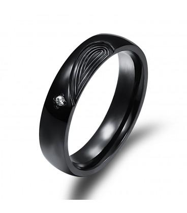 ékszer webshop Fekete, férfi nemesacél gyűrű cirkónia kővel