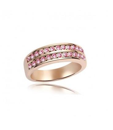 ékszer webshop Apró köves, dupla soros elegáns gyűrű - rózsaszín