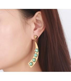 ékszer webshop Egyedi nemesacél fülbevaló zöld kövekkel, arany