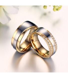 Exkluzív férfi karikagyűrű nemesacélból, arany bevonattal