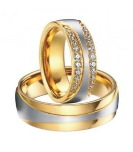 Ezüst sávos férfi karikagyűrű nemesacélból, arany bevonattal