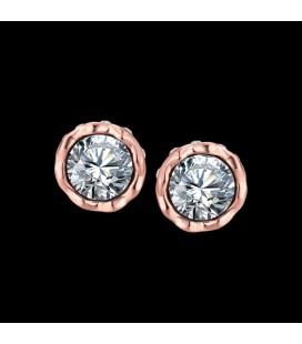 ékszer webshop Kerek, CZ kristályos fülbevaló rózsaarany