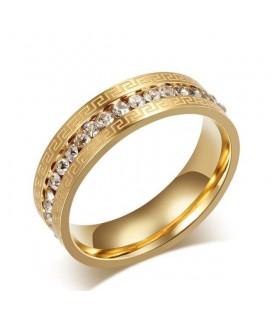 Görög mintás nemesacél gyűrű arany bevonattal