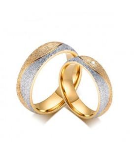 Csillogó szemcsés női karikagyűrű nemesacélból