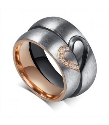 ékszer webshop Fél szív mintás férfi karikagyűrű nemesacélból