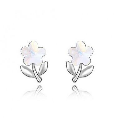 ékszer webshop Fehér kristályos virág fülbevaló