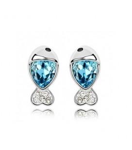 ékszer webshop Kék kristályos halacska fülbevaló