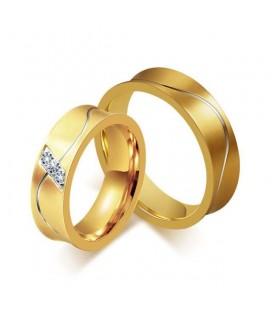 ékszer webshop Aranyozott férfi karikagyűrű nemesacélból