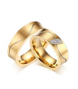 Aranyozott férfi karikagyűrű nemesacélból