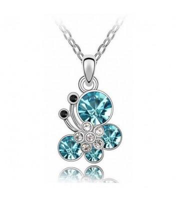 ékszer webshop Kék kristályos pillangós nyaklánc