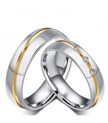 ékszer webshop Arany sávos férfi karikagyűrű nemesacélból
