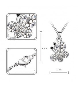 ékszer webshop Fehér kristályos pillangós nyaklánc