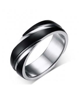 Bordázott férfi gyűrű nemesacélból