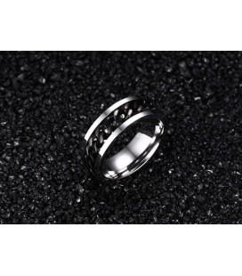 ékszer webshop Fekete láncos férfi gyűrű nemesacélból