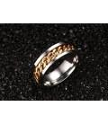 ékszer webshop Arany láncos női gyűrű nemesacélból