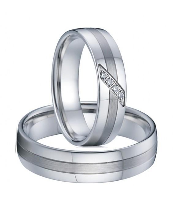 nemesacél gyűrű, 3 sávos női nemesacél karikagyűrű