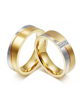 Női nemesacél karikagyűrű arany-ezüst színben