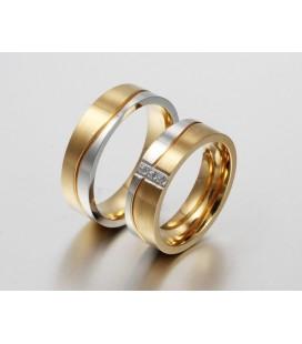 ékszer webshop Női nemesacél karikagyűrű arany-ezüst színben