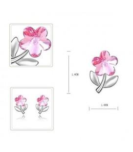 ékszer webshop Rózsaszín kristályos virág fülbevaló