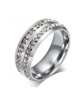 CZ kristályokkal díszített női gyűrű nemesacélból