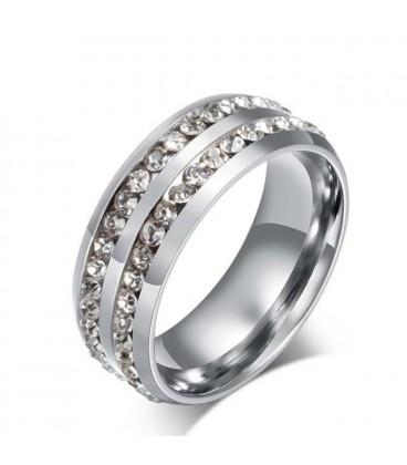 ékszer webshop CZ kristályokkal díszített női gyűrű nemesacélból