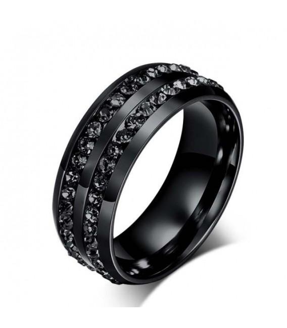 ékszer webshop Fekete kövekkel díszített férfi gyűrű