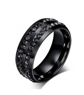 Fekete kövekkel díszített férfi gyűrű nemesacélból