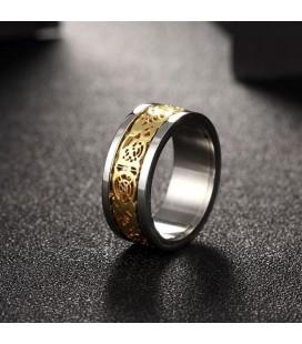 ékszer webshop Arany mintás nemesacél gyűrű
