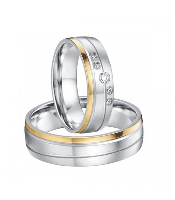 ékszer webshop Arany sávos női karikagyűrű nemesacélból, CZ