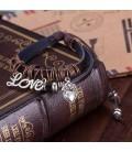 ékszer webshop LOVE charmmal díszített bőr karkötő
