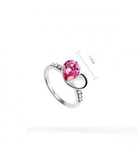 Szív alakú, kristállyal díszített gyűrű