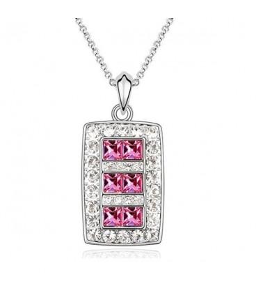 ékszer webshop Rózsaszín kristályos elegáns nyaklánc