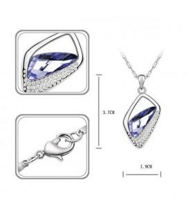ékszer webshop Lila kristályos asszimetrikus nyaklánc