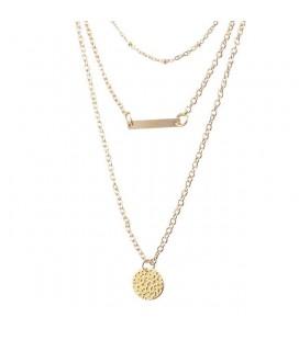 3 soros, aranyszínű bizsu nyaklánc