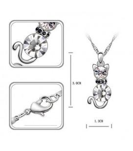 ékszer webshop Fehér kristályos cica nyaklánc