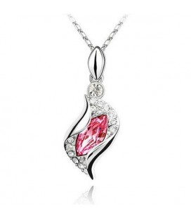 ékszer webshop Rózsaszín kristályos csavart nyaklánc