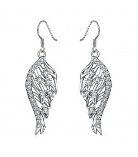 CZ kristályos, ezüst bevonatú védelmező angyalszárny fülbevaló