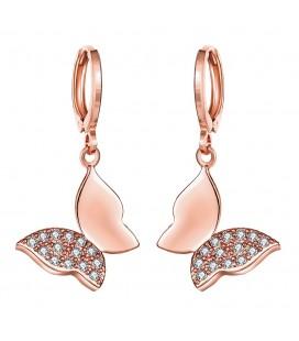 CZ kristályos, rózsaarany bevonatú lepke fülbevaló