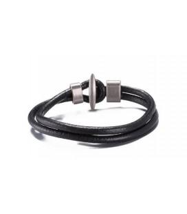 Bőrből készült uniszex karkötő - fekete
