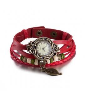 Bőrből készült, antikolt karkötő óra - Piros