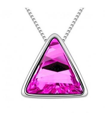 ékszer webshop Sötétrózsaszín kristályos háromszög nyaklánc