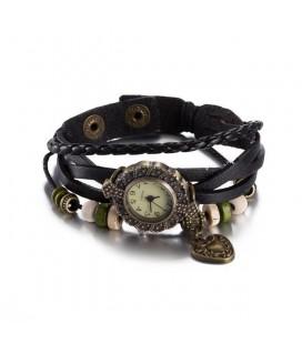 ékszer webshop Bőrből készült, antikolt karkötő óra - fekete