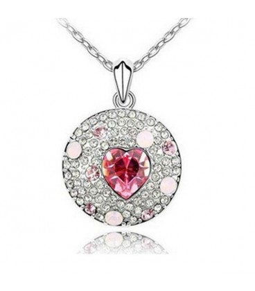 ékszer webshop Rózsaszín kristályos kör nyaklánc