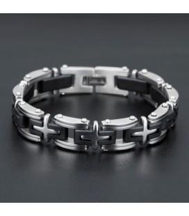 ékszer webshop Fekete-ezüst színű nemesacél-szilikon karkötő