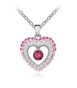 Rózsaszín kristályos szív nyaklánc