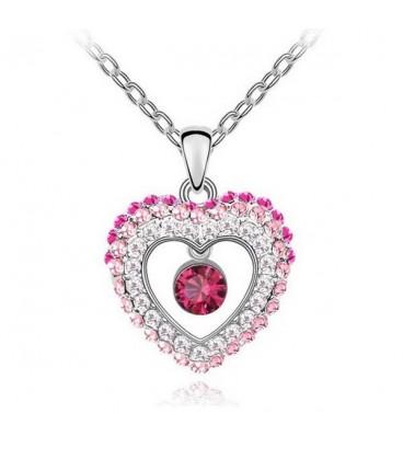 ékszer webshop Rózsaszín kristályos szív nyaklánc